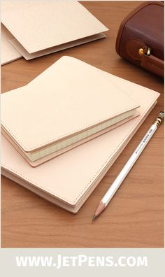 """Protect your favorite 4"""" x 6"""" or A5 notebook with a Midori MD Notebook Cover made from genuine goat leather or tear-resistant paper."""