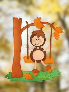 Handicrafts in autumn: window picture - Diy Fall Decor Kids Crafts, Fall Crafts For Kids, Diy For Kids, Diy And Crafts, Paper Crafts, Fall Arts And Crafts, Autumn Crafts, Autumn Art, Autumn Activities