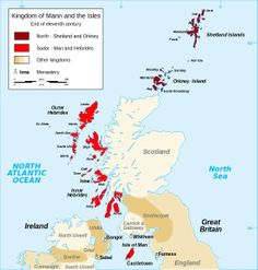 The Kingdom of Mann and the Isles. The Orkneys and Shetlands were primarily Norse speaking, the people being of mixed Viking and Pictish blood. Those in the Hebrides and West Highlands were the Gall Gael or Vikingar Skotar (Viking Scots), speaking both Norse and Gaelic and often with a Norse and a Gaelic name or having both combined (for example Thorfinn mac Fergus or Conall Godfreysson).