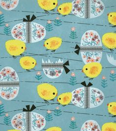 Easter gift wrap pattern design eggs spring colour mark kevin akers 3 reminds me of the fuzzy easter chicks vintage wrapping paperwrapping negle