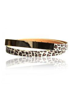 Flat Metal Plate Detail Leopard Belt –   Stylish Skinny Belt, Interesting Front Plate Detail, Leopard Print Leatherette, Gold Finished Buckle, Adjustable Length  -Rs. 250.00