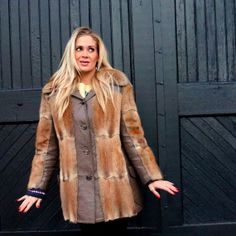 Leather Trimmed Fur Jacket Tan to Rust MUSKRAT by RenegadeRevival, $239.99