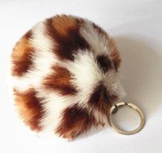 Leopard Pom Ball Keychain