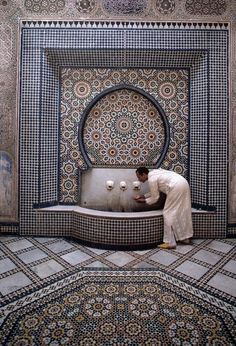 Morocco Fez Morish architecture A fountain 1985
