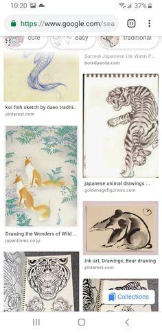 Fish Sketch, Japanese Animals, Bear Drawing, Totem Poles, Ink Wash, Animal Drawings, Koi, Surrealism, Cute