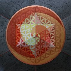 Spiralling Star Tetrahedron   Acrylic and Gold Leaf on Canvas 90x90x3 cm