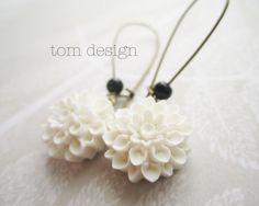 Olivia Mum Earrings - White Chrysanthemum Dangle Earrings, Bride, Bridesmaid, Wedding