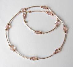Ketten kurz - Kette mit Kristallen rosegold - ein Designerstück von soschoen bei DaWanda