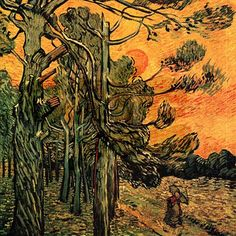 """""""Pine Trees against a Red Sky with Setting Sun"""" by Vincent Van Gogh."""
