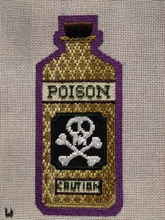 poison bottle stitches and color idea needlepoint from Kirk & Bradley