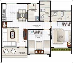 plano de dasa moderna economica de tres dormitorios