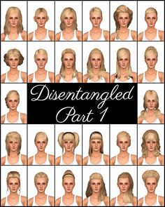 Mod The Sims - Disentangled Part 1 - 26 De-Accessorized, Retextured, & Fixed Up EA Hairs
