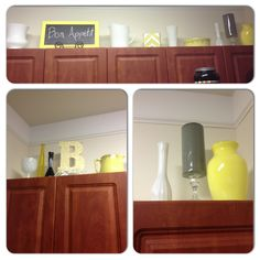 More over the cabinet decor in my kitchen. Painted vases, milkglass, mod podge letter, less than $20 to make everything.