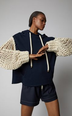 Crochet Knit-Paneled Cotton-Jersey Hooded Sweatshirt by MONSE Now Available on Moda Operandi Knitwear Fashion, Knit Fashion, Fashion Outfits, Womens Fashion, Textiles Y Moda, Mein Style, Fashion Details, Fashion Design, Diy Clothes