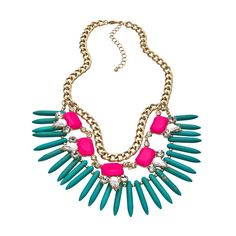 Turquoise Spike Bib Necklace (48 CAD) ❤ liked on Polyvore featuring jewelry, necklaces, accessories, jewels, collares, fashion jewelrynecklaces, turquoise spike necklace, bib necklace, spike jewelry and spike collar necklace
