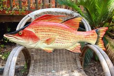 Hogfish 28 wooden chainsaw art fish carving rustic by oceanarts10
