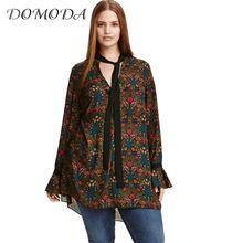 DOMODA Big Size New Fashion Women Clothing Casual V-neck Dress Basic Print Tied Dress Long Sleeve Plus Size Dress 4XL 5XL 6XL //FREE Shipping Worldwide //