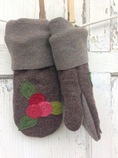 Felted Wool Mittens Holly Berries-Christmas-Brown by whimsiedots