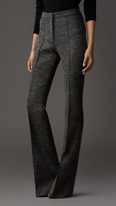Melange Wool Flared Trousers | Burberry