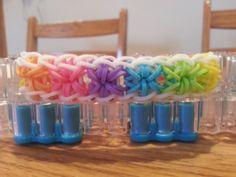 LOVE this pattern and these vibrant colors! Starburst Bracelet by RainbowLoomLover on Etsy, $4.00