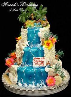 Hawaiian Luau Wedding Cake with Waterfall Cascade 17th Birthday Party Ideas, Hawaii Birthday Party, Luau Birthday Cakes, Luau Cakes, Hawaiian Luau Party, Beach Cakes, Hawaiian Birthday, Party Cakes, Hawaii Wedding Cake