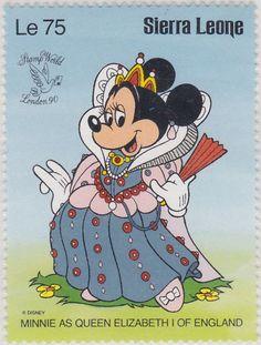 "Minnie como la reina Elizabeth I de Inglaterra ""Stamp World London '90"" 1990 Sierra Leona"