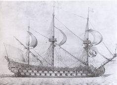 Dessin P. Pujet supposé représenté le Royal Louis de 1668