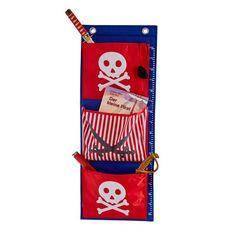 LOVE IT STORE IT - Závěsný organizér Piráti - červený s bílým pirátem, Závěsný organizér z vysoce kvalitního polyesteru s motivem pirátů.