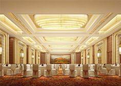Ideas Wedding Reception Hall Ballrooms For 2019 Showroom Interior Design, Hall Interior, Halle, Ballroom Design, Wedding Reception Lighting, Wedding Venues, Function Hall, Outdoor Chandelier, Hall Design