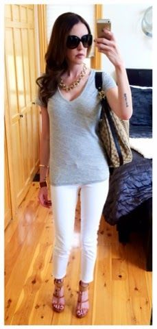 Casual summer outfit - J.Crew t-shirt and white skinny jeans, cognac Michael Kors shoes and cuff with Gucci bag and Burberry sunnies.