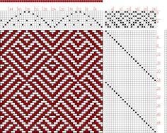 Hand Weaving Draft: 24217, 2500 Armature - Intreccio Per Tessuti Di Lana, Cotone, Rayon, Seta - Eugenio Poma, 8S, 24T - Handweaving.net Hand Weaving and Draft Archive Weaving Designs, Weaving Projects, Weaving Patterns, Textile Patterns, Textiles, Loom Yarn, Loom Weaving, Knitting Stitches, Knitting Patterns