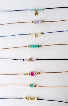 Unique one of a kind choker necklaces with a bohemian feel. Pictures listed are my best selling chokers but i can also custom make ones based on the beads and cord material of your choice! This designs by illa original bohemian choker is simple yet sylish! cord is around 13-14. Please let me know if you need a different length. Necklaces close with gold lobster clasp. ~ hand made ~  Options (listed in the order of the picture) See picture 2 for more options 1- gold plated star charm…