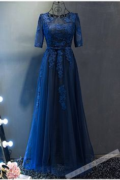 Beautiful lace appliqued blue tulle vintage prom dress, ball gown, long dress with sleeves