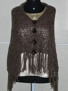 Luz Weber: Poncho marrom de lã Pérola