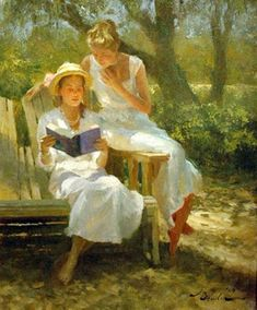 """Joseph Bowler (American, A narrative setting in """"Keats"""" with two young women in billowing whites, set against a Lowcountry ground. """"A portrait artist must first, create. Reading Art, Woman Reading, People Reading, Books To Read For Women, How To Read People, Love Art, Female Art, Book Worms, Illustration Art"""