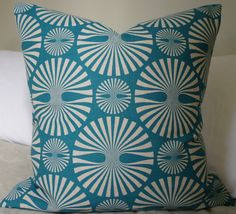 Decorative Throw Pillow - Pattern on both sides  - 18X18 - Light gray design on a teal/aqua background