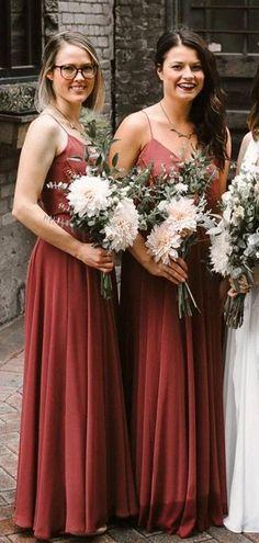 Spaghetti Straps Rust Red Long Bridesmaid Dresses Online, Cheap Bridesmaids Dresses, WG740#bridesmaids #bridesmaiddress #bridesmaiddresses #dressesformaidofhonor #weddingparty #2020bridesmaiddresses