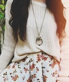sweater, skater skirt, statement necklace, oxfords.