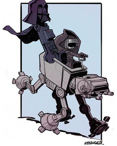 Kylo Ren and Darth Vader on AT-AT x Calvin and Hobbes
