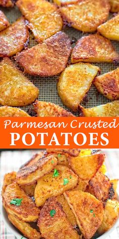These delicious parmesan potatoes are so addictive that you can only stop . - These delicious parmesan potatoes are so addictive that you can& stop eating until you& - Potato Side Dishes, Veggie Dishes, Food Dishes, Easy Side Dishes, Beef Dishes, Parmesan Crusted Potatoes, Rosemary Potatoes, Sliced Baked Potatoes, Garlic Roasted Potatoes