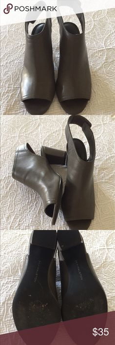 """H by Halston leather slung back peep toe shoes Genuine grey leather sling back peep toe shoes with a 3"""" heel!! Super cute and stylish!! Only worn a few times ! Great with skinny jeans , any jeans and skirts too!! Love these shoes you will too❤️❤️! Velcro closure around ankle and super comfy!!! H by Halston Shoes Heels"""