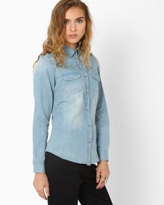 Denim Shirt with Flap Pockets | Shirts | Western Wear | Women | Women's Collection | AJIO