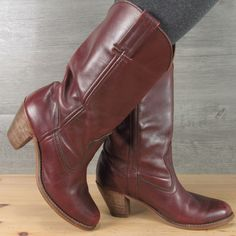Vintage Dex Made in USA Dexter Boho Oxblood Leather Boots 8.5 M