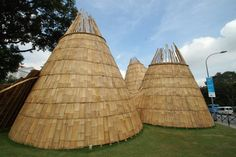 'Wormhole' conical bamboo structures