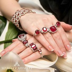 Not one, but two hands full of @baycojewels ruby and diamond pieces! And still not enough! ❤️ Credit: Nataliya Gartseva for www.margoraffaelli.com
