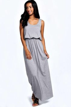 Bagged Over Grey Maxi Dress - Discount Fashion Under 100 - Online Shopping Racerback Maxi Dress, Boohoo Dresses, Scoop Neck Dress, Long Sleeve Maxi, Bodycon Fashion, Australian Fashion, Summer Dresses For Women, Dress Collection, Fashion Outfits