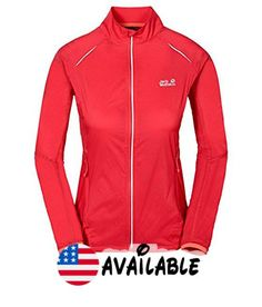 B013SQ8QDA : Jack Wolfskin Women's Exhalation Lightweight Jacket Hibiscus Red X-Small. very light windproof water resistant and very breathable fabric. mesh lining with active moisture management. 2 hip pockets. STOW AWAY function (in sleeve). reflective detailing on all sides #Sports #OUTDOOR_RECREATION_PRODUCT