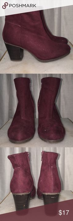 Maroon suede ankle boots Faux suede (microfiber) gently worn, all flaws are pictured! Old Navy Shoes Ankle Boots & Booties