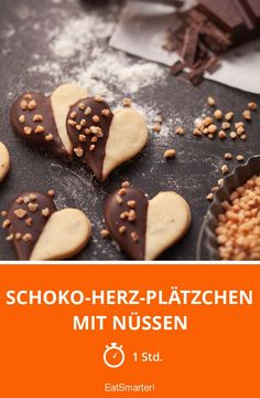 Chocolate heart cookies with nuts - Drink Types Chocolate Brownie Cookies, Chocolate Biscuits, German Baking, Chocolate Hearts, Heart Cookies, Food Cakes, Cake Recipes, Food And Drink, Chips