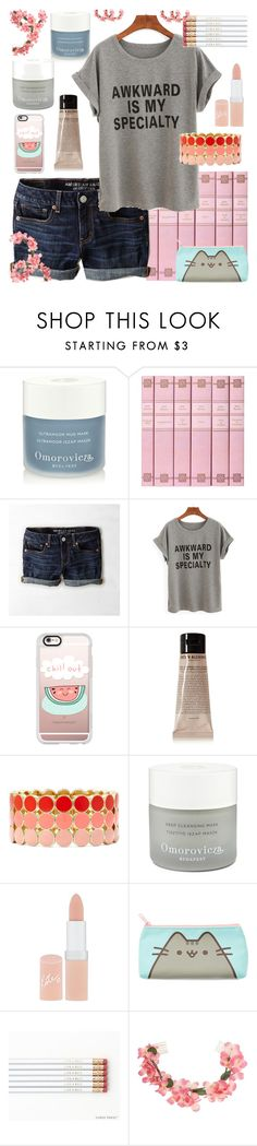 """""""Awkward is my specialty"""" by sarahwuzhere on Polyvore featuring Omorovicza, American Eagle Outfitters, WithChic, Casetify, Grown Alchemist, Liz Claiborne, Rimmel, Pusheen and Miss Selfridge"""
